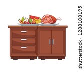kitchen table with food | Shutterstock .eps vector #1288108195