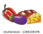 vegetable and bread | Shutterstock .eps vector #1288108198