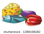 fish cheese vegetables | Shutterstock .eps vector #1288108282
