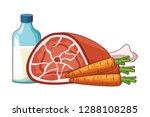 pork carrot milk | Shutterstock .eps vector #1288108285