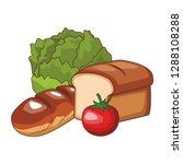 vegetable and bread | Shutterstock .eps vector #1288108288