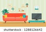 furniture  sofa  bookcase  tv  ... | Shutterstock .eps vector #1288126642