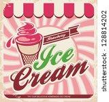 ice cream retro poster. vintage ... | Shutterstock .eps vector #128814202