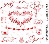 valentines day doodles vector | Shutterstock .eps vector #1288154755