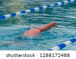 man swimming in a pool with... | Shutterstock . vector #1288172488