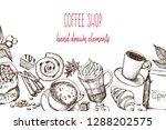 hand drawn illustration  coffee ... | Shutterstock .eps vector #1288202575