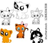 set of cats pets vector | Shutterstock .eps vector #1288206508