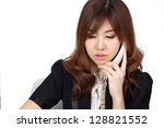 young asian businesswoman on... | Shutterstock . vector #128821552