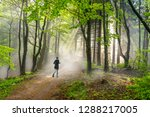 woman running in a misty forest | Shutterstock . vector #1288217005
