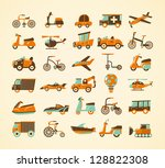 retro transport icons set | Shutterstock .eps vector #128822308