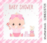 baby shower card  baby girl and ...   Shutterstock .eps vector #1288223725