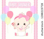 baby shower card  baby girl and ...   Shutterstock .eps vector #1288223728