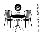 vector street cafe  silhouette... | Shutterstock .eps vector #128823025