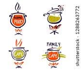 family cafe logo set. template... | Shutterstock .eps vector #1288263772