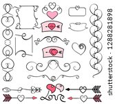 collection of hand drawn... | Shutterstock .eps vector #1288281898
