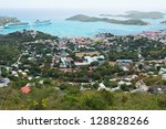 Looking out over Charlotte Amalie, St. Thomas, Virgin Islands - stock photo
