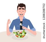 young man vegetarian is eating... | Shutterstock .eps vector #1288288702