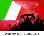 silhouette of a crowd with... | Shutterstock .eps vector #128830816
