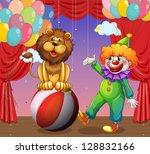 atto,animale,equilibrio,palla,palloncini,barba,cartone animato,centro,circo,clipart,nuvole,pagliaccio,colorato,comico,tenda