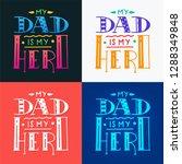 set dad super hero doodle quote ... | Shutterstock .eps vector #1288349848