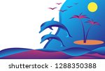 floating dolphins in the sea... | Shutterstock .eps vector #1288350388