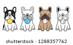 dog vector french bulldog ball... | Shutterstock .eps vector #1288357762