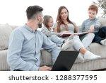modern family spends leisure... | Shutterstock . vector #1288377595