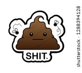 shit sticker with straight face ...   Shutterstock .eps vector #1288394128
