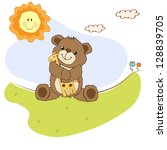childish greeting card with... | Shutterstock .eps vector #128839705