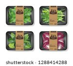 salad leaves with plastic tray... | Shutterstock .eps vector #1288414288