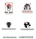 red black white skull faces... | Shutterstock .eps vector #1288455028