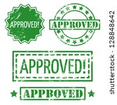 set of approved rubber stamp | Shutterstock .eps vector #128848642
