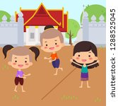traditional thai children enjoy ... | Shutterstock .eps vector #1288525045