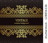 vintage seamless wallpaper with ... | Shutterstock . vector #128856136