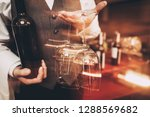 close up. sommelier in bow tie... | Shutterstock . vector #1288569682