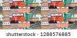 seamless christmas city pattern.... | Shutterstock .eps vector #1288576885