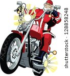 mighty santa on a motorbike ... | Shutterstock .eps vector #128858248