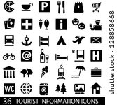 set of 36 icons for tourist map.... | Shutterstock .eps vector #128858668