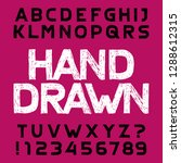 hand drawn alphabet font.... | Shutterstock .eps vector #1288612315