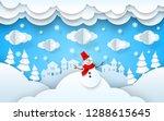 papercut winter landscape... | Shutterstock .eps vector #1288615645