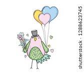 cute little bird with balloons... | Shutterstock .eps vector #1288623745
