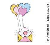 envelope with balloons helium... | Shutterstock .eps vector #1288626715