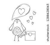 cute little bird with envelope...   Shutterstock .eps vector #1288628065