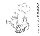 cute little bird with balloons... | Shutterstock .eps vector #1288628365