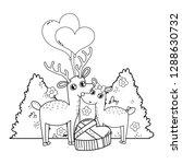cute love reindeer couple with... | Shutterstock .eps vector #1288630732