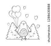 cute little bird with balloons... | Shutterstock .eps vector #1288630888