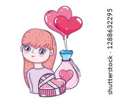 young cute girl lover with... | Shutterstock .eps vector #1288632295