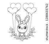 cute rabbit with balloons... | Shutterstock .eps vector #1288633762
