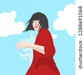japan young girl on th stret with clouds and electrical. modern style flat character woman. street fashion.