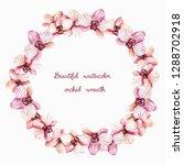 watercolor wreath of flowers of ... | Shutterstock . vector #1288702918